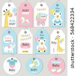 gift tags and cards baby shower.... | Shutterstock .eps vector #568422334