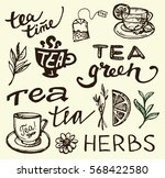 hand drawn tea time collection. ... | Shutterstock .eps vector #568422580