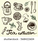 hand drawn tea time collection. ... | Shutterstock .eps vector #568422604