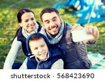 camping  hike  technology and... | Shutterstock . vector #568423690