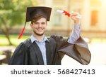 happy man portrait on her... | Shutterstock . vector #568427413