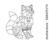 steampunk style fox. mechanical ... | Shutterstock .eps vector #568429174