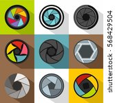 aperture of camera icons set.... | Shutterstock .eps vector #568429504