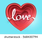 paper art of love calligraphy... | Shutterstock .eps vector #568430794
