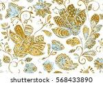 cute watercolor seamless flower ... | Shutterstock . vector #568433890