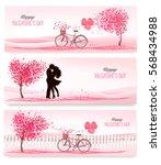 three valentine's day banners... | Shutterstock .eps vector #568434988