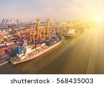container container ship in... | Shutterstock . vector #568435003