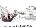 romantic couple in the gondola... | Shutterstock .eps vector #568436284