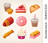 set of colorful fast food... | Shutterstock .eps vector #568441324