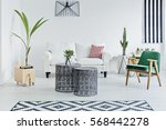 spacious room with designed... | Shutterstock . vector #568442278