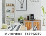 modern dining room area with... | Shutterstock . vector #568442350
