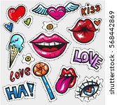 pop art fashion chic patches ... | Shutterstock .eps vector #568442869
