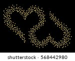 two inverted hearts. golden... | Shutterstock .eps vector #568442980