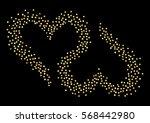 two inverted hearts. golden... | Shutterstock .eps vector #568442980