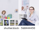 woman therapist leading... | Shutterstock . vector #568444450