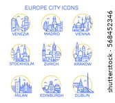 europe city icons. set. vector | Shutterstock .eps vector #568452346