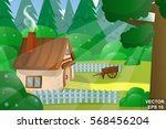 woodland landscape. cartoon.... | Shutterstock .eps vector #568456204