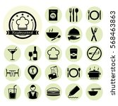 restaurant icon set.vector... | Shutterstock .eps vector #568463863