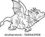 small cute dragon began its... | Shutterstock .eps vector #568463908
