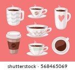 set of cartoon style cup.... | Shutterstock .eps vector #568465069