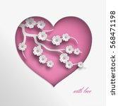 pink heart vector illustration...   Shutterstock .eps vector #568471198