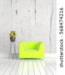 modern bright interior . 3d... | Shutterstock . vector #568474216