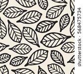 seamless monochrome leaf... | Shutterstock .eps vector #568475734