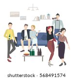 home party with dancing ... | Shutterstock .eps vector #568491574