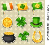saint patricks day objects.... | Shutterstock .eps vector #568491643