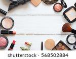 the women's cosmetics set on a...   Shutterstock . vector #568502884