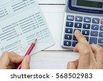 accountant verify the saving... | Shutterstock . vector #568502983