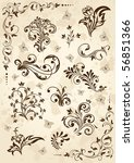 old grunge paper with floral... | Shutterstock .eps vector #56851366