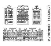 dutch houses  amsterdam... | Shutterstock .eps vector #568525174