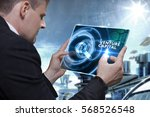 Small photo of Business, Technology, Internet and network concept. Businessman working on the tablet of the future, select on the virtual display: Venture capital