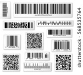packaging labels  bar and qr... | Shutterstock .eps vector #568535764
