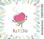cute cartoon radish...   Shutterstock .eps vector #568542280