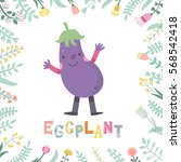 cute cartoon eggplant... | Shutterstock .eps vector #568542418