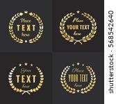wreath gold logo vintage vector ... | Shutterstock .eps vector #568542640