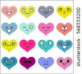 colorful heart emoji  emoticon  ... | Shutterstock .eps vector #568553200