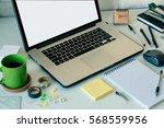 workspace with laptop notebook...   Shutterstock . vector #568559956