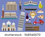 italy flat illustration, vector, landmark, symbol, rome, venice | Shutterstock vector #568560070