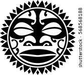 maori style sun isol ated on ... | Shutterstock .eps vector #568568188