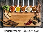 various colorful spices and... | Shutterstock . vector #568574560