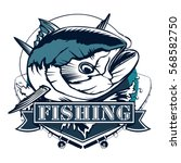 tuna fishing logo isolated on... | Shutterstock .eps vector #568582750