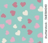 seamless pattern with hearts in ... | Shutterstock .eps vector #568584040