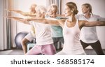 Small photo of Instructor performing yoga with seniors during sports class