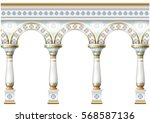 fabulous ancient arch facade in ... | Shutterstock .eps vector #568587136
