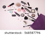 a purple leather make up bag... | Shutterstock . vector #568587796
