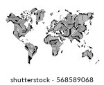 world map circuit board design... | Shutterstock .eps vector #568589068