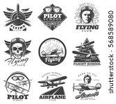 monochrome aircraft logos set... | Shutterstock .eps vector #568589080